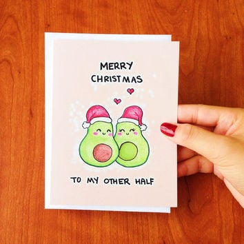Funny Christmas Card, funny christmas cards, funny holiday card boyfriend, merry christmas card wife, printable christmas card, avocado card