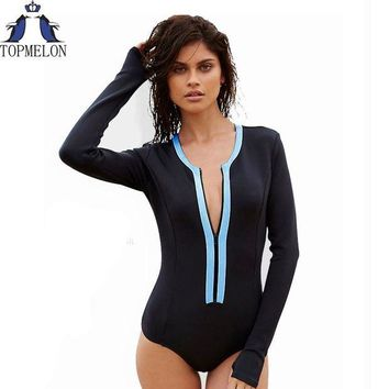 DCCKFV3 Swimsuit  long sleeve Swimwear Vintage One-piece Surfing Female Biquini One Piece Swimsuit monokini Cut Out bathing suit
