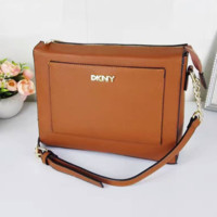 DKNY Women Shopping Leather Metal Chain Crossbody Satchel Shoulder Bag brown