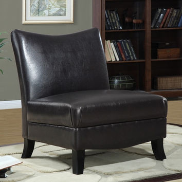 I 8046 Dark Brown Leather-Look Accent Chair
