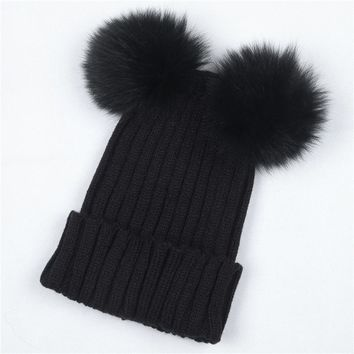 a657c86db7d Women s Winter Hat Chunky Knit Double Pom Pom Beanies Cap Faux Fur Pompom  Hats Women Headgear