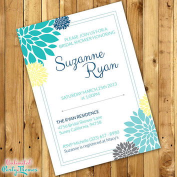 Blue & Yellow Floral Bridal Shower Invitations - Wedding Invitations