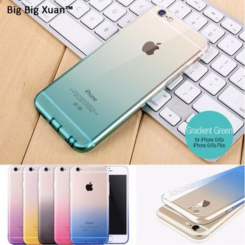 Gradient Cell Phone Case With Dust Plug For iPhone 8 8Plus Ultra Thin TPU Silicon Phone Cover Capa For 7 7Plus 6 6s Plus 5 5s SE