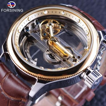 Forsining GMT1048 Brown Leather Belt Steampunk Hollow Full Transparency Mens Luxury Automatic Skeleton Wrist Watch