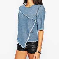 Liquor & Poker Raw Edge Denim Top