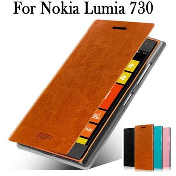 For Nokia Lumia 730 Caseflip Leather Case For Nokia Lumia 735 Cover Phone Bag Luxury Leather Case For Nokia 730 Free Shipping