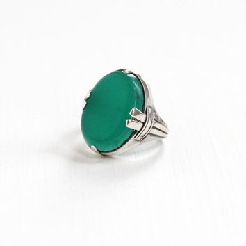 Vintage Sterling Silver Simulated Chrysoprase Ring - Size 5 Art Deco 1930s Green Glass Oval Cut Stone Statement Geometric Jewelry