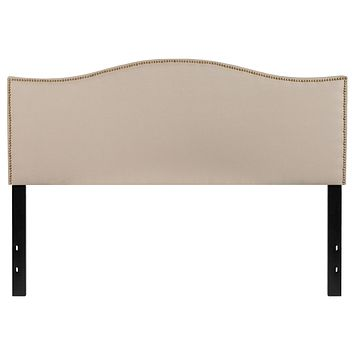 Lexington Upholstered Queen Size Headboard with Decorative Nail Trim
