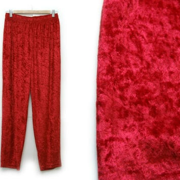 Vintage Velvet Pants~Size Small/Medium/Large, Waist 26-32~80s 90s Red Crushed Velvet Elastic Stretchy High Waist Pants