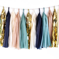 Blue, Ivory, Tan, and Gold Tassel Garland - Tissue Paper Tassel Garland - Party Decoration // Baby Shower Decor // Kids Room Decoration