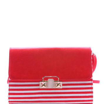 Stripes Clutch - Red