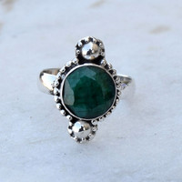 Green Onyx Ring , Green Onyx Ring , Sterling Silver ring , Green Onyx Jewelry , Green Gemstone Ring , Modern Ring