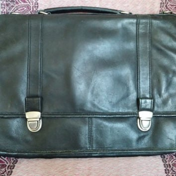 Vintage Italian Leather Briefcase, business bag, messenger, attache