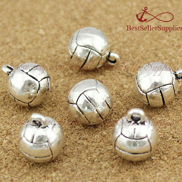 10 PCS, Volleyball Charms, 3D Volleyball Pendants, I Love Volleyball, Cheerleading, Cheerleader, Cheer, Sports Jewelry, Coach Gift, 11MM