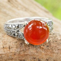 Carnelian single stone ring, 'Marigold'