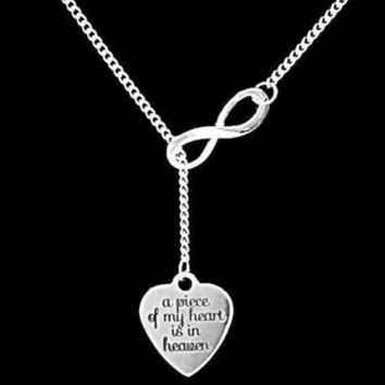 A Piece Of My Heart Is In Heaven Guardian Angel Infinity Lariat Necklace