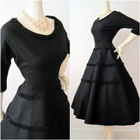 1950s 50s Dress Vintage 50s Wool Felt with Ruffled by voguevintage