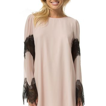 Teeze Me | Long Sleeve Lace Chiffon Shift Dress | Rose/Black