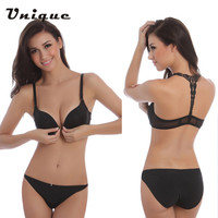 New Fashion Sexy Bra Front Buckle Beauty Back Inspired Bra Set Smooth Surface Push Up Bra Lingerie Intimates Seamless Bra