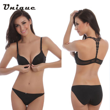 2016 New Fashion Sexy Bra Front Buckle Beauty Back Inspired Bra Set Smooth Surface Push Up Bra Lingerie Intimates Seamless Bra