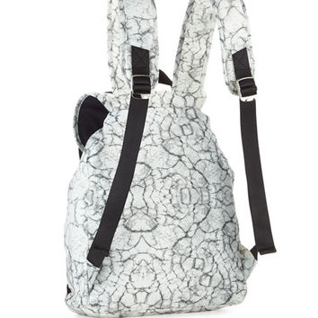 French Connection Indy Marble-Print Nylon Duffle Bag, Marble/Black
