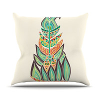 "Pom Graphic Design ""Tribal Feather"" Green Orange Throw Pillow"