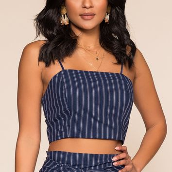 Spring Delight Crop Top - Navy