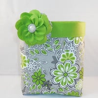 Gray And Chartreuse Floral Fabric Basket With Detachable Fabric Flower Pin For Storage Or Gift Giving