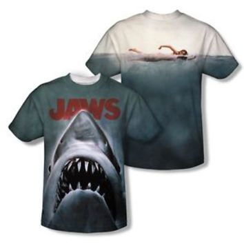 Jaws Movie Poster Shark 2-Sided All Over Print Poly Tee Shirt Adult S-3XL