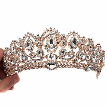 Rose Gold Baroque Vintage Peacock Crystal Prom Pageant Crowns Rhinestone Wedding Bridal Tiara For Women Bride Hair Accessories