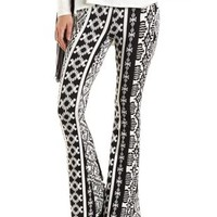 Tribal Print Knit Flare Pants by Charlotte Russe