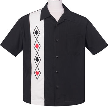 Steady Clothing Card Suit Panel casino  night Men''s Bowling Shirt