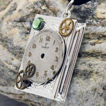 Unique Steampunk silver-plated book locket with vintage watch face, watch parts and green Swarovski crystal rhinestone- Steampunk jewelry