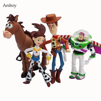 4pcs/set Anime Toy Story 3 Buzz Lightyear Woody Jessie PVC Action Figure Collectible Model Toy Kids Gifts 14.5-18cm KT443