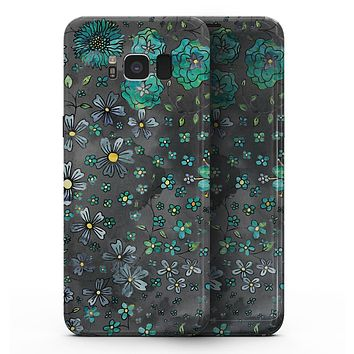 Floral Pattern on Black Watercolor - Samsung Galaxy S8 Full-Body Skin Kit