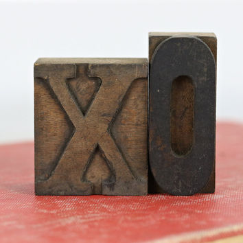 Vintage Letterpress XO | Printers Blocks Hugs And Kisses | Letterpress Blocks | Valentine's Decor | Wedding Decor
