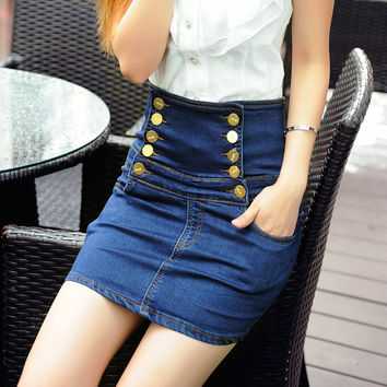 High Waist Denim Slim Stretch Double Breasted Skirt [11405207375]