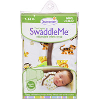 Summer Infant Swaddleme Adjustable Infant Wrap - Small-medium 7 - 14 Lbs - Jungle White