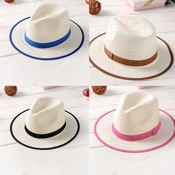 PEAP78W Summer Kid Fedora Straw Brim Cap Sun Jazz Hat Hats Boys Girls Beach Cap
