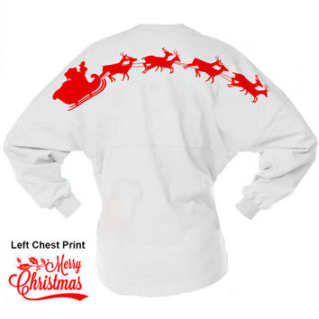Santa And Reindeer Merry Christmas Game Day Jersey, Christmas Shirt, Skyline Pom Pom Billboard Group, Long Sleeve Santa Shirt