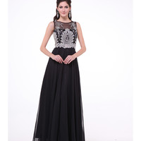 Black & Silver Chiffon Embellished Bodice Dress 2015 Prom Dresses