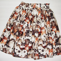 Retro high waisted infinite cats pleated skirt