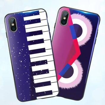 Fendi Trending Women Men Personality Blue Light Cell Phone Shell Piano iphone8 iphone8 iphone7plus Full Package Soft Silicone 6S Protective Cover Lovers Mobile Phone Shell