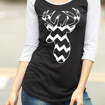 Black-Grey Patchwork Deer Print Round Neck Long Sleeve Casual Party T-Shirt