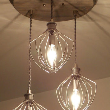 Farmhouse Lighting- Bakery Lighting - Restaurant Lighting - Dining Room Lighting - Hanging Lighting - Industrial Chandelier - Whisk Chandeli