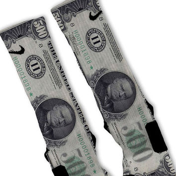 500 Dollar Bill Customized Nike Elite Socks!!