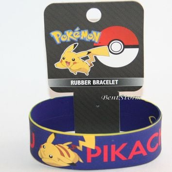 "Licensed cool Pokemon GO PIKACHU Navy 1"" wide Rubber Bracelet Wristband Licensed Jewelry NEW"