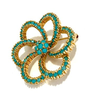 Panetta Swirled Flower Brooch Opaque Turquoise Austrian Crystals Dimension & Texture Gold Tone Metal Designer Signed Vintage Gift for Her
