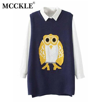 MCCKLE Ladies Plus size Vest Women' Owl Pattern Sleeveless Sweaters Girl Oversized Waistcoat Female Casual Loose Knitted Colete