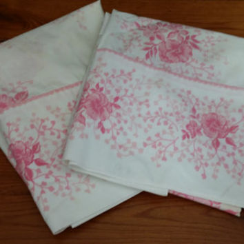 Set of 2 Vintage Pink Flower Pillow Cases Great for Upcycling and Repurposing With Crochet Trim